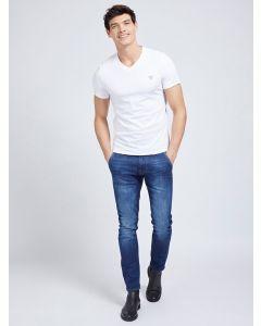 T-Shirt GUESS mit V-Ausschnitt True White