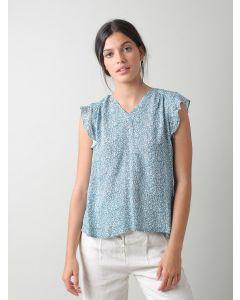Bluse INDI & COLD Sleeveless Blouse Mini Floral Print Agua